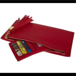 Handbags - Red Zipper Wallet with Credit Card insert